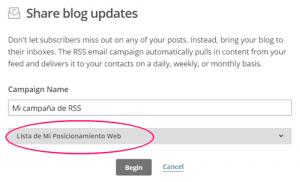 Lista a la que compartir las nuevas noticias del blog