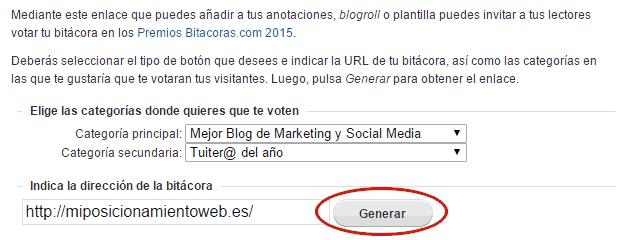 Cómo generar enlace de votos Bitácoras 2015