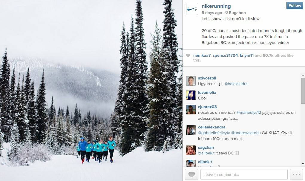 Campaña de Nike en Instagram