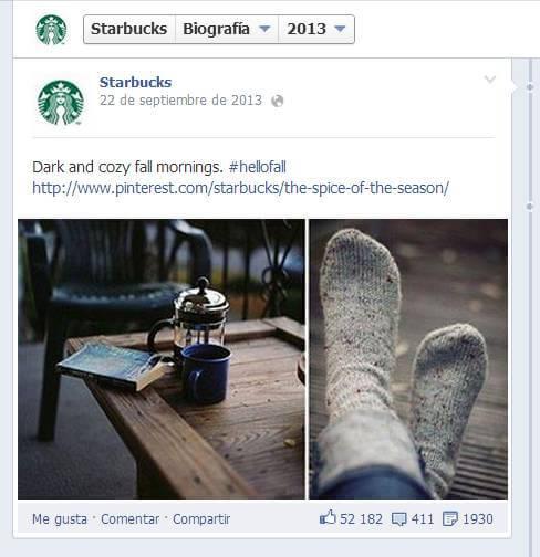 Campaña de Starbucks en Facebook