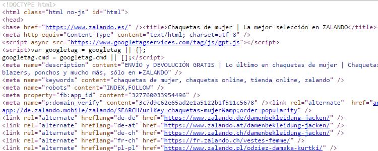 Código fuente de Zalando.es