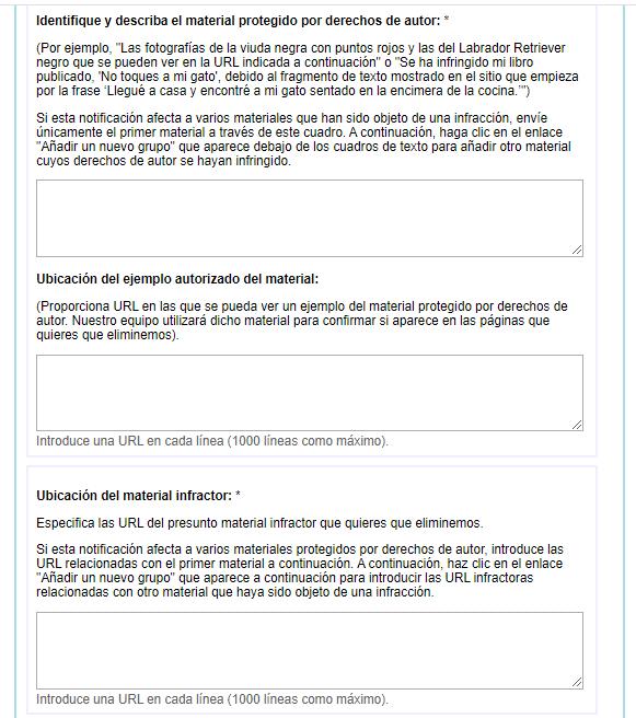 URLs de la infracción por derechos de autor