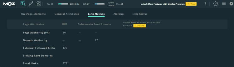Análisis de página en MozBar, Link Metrics