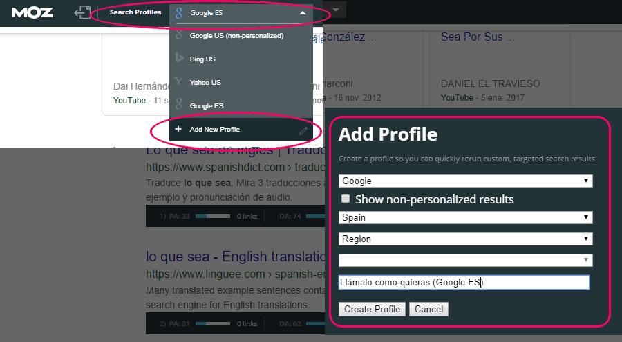 Configurar un perfil de buscador para tu país en MozBar