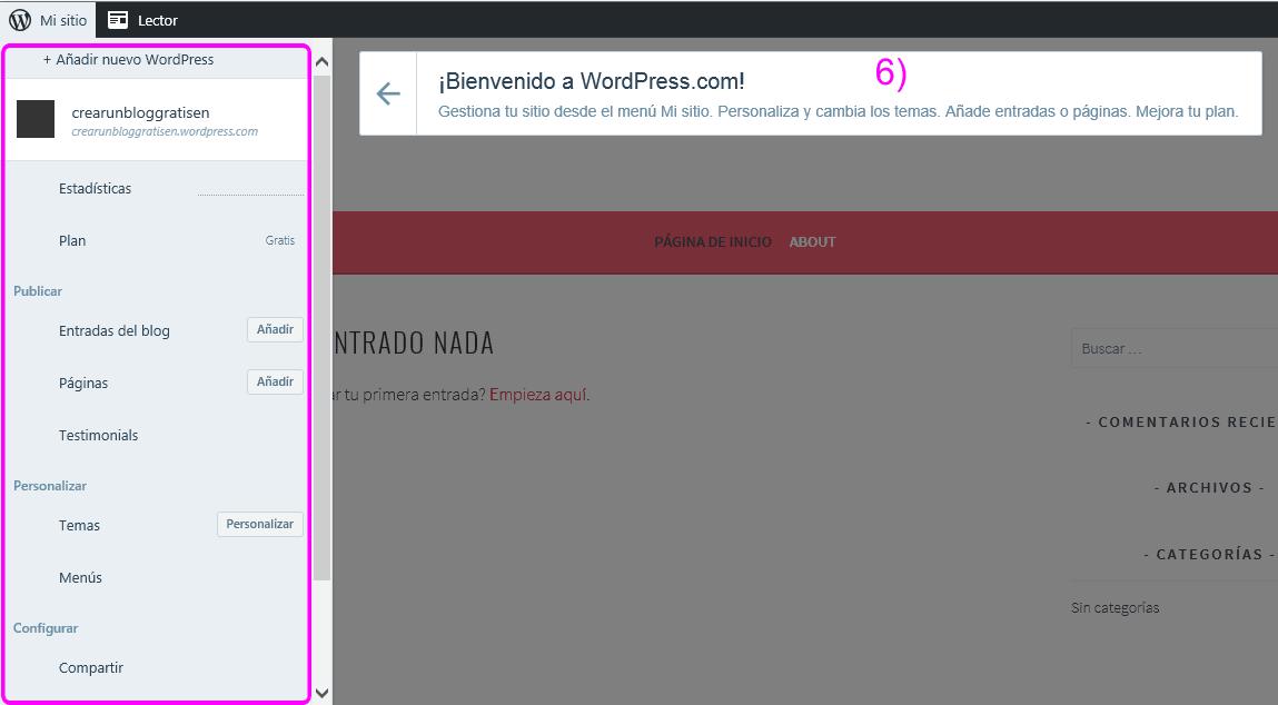 Panel de control de tu nuevo blog en WordPress.com