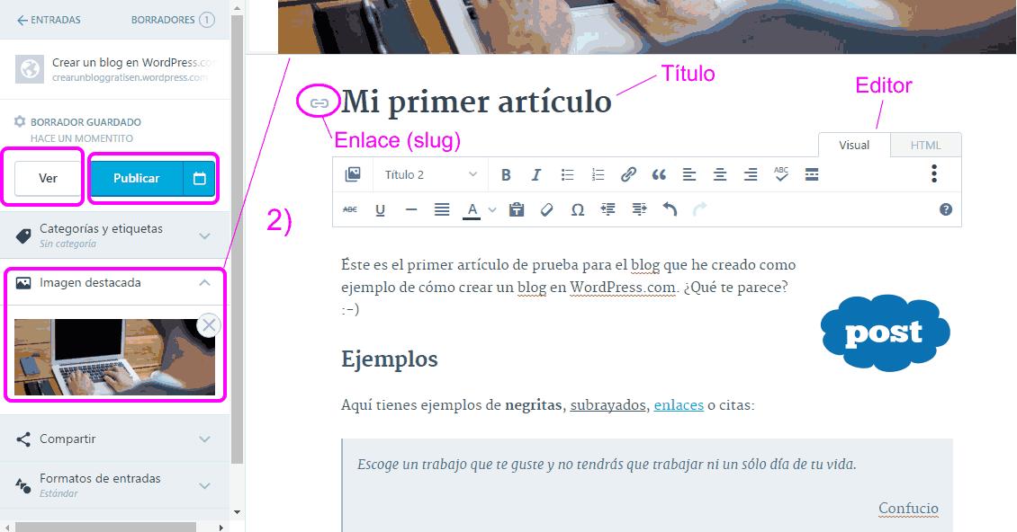 Editor de artículo de WordPress.com