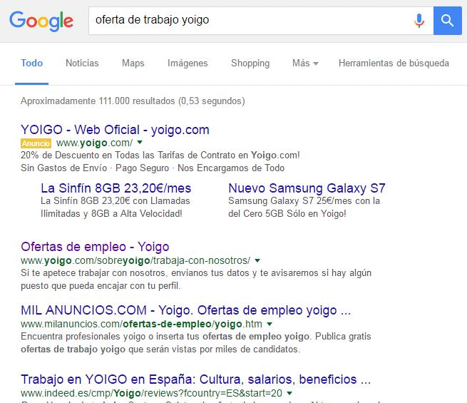 Búsqueda de empleo en Google