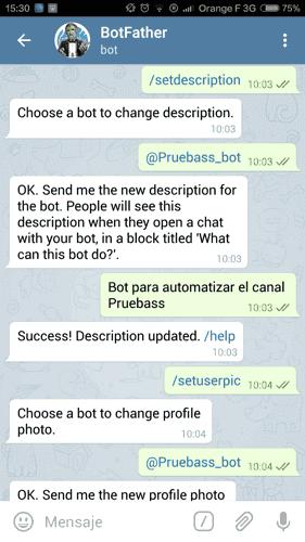 Configurando la descripción del bot