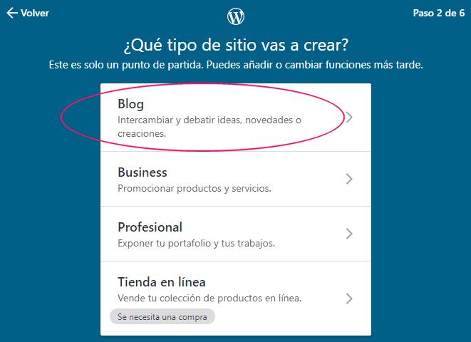 Crear un sitio web en WordPress gratis - Paso 2
