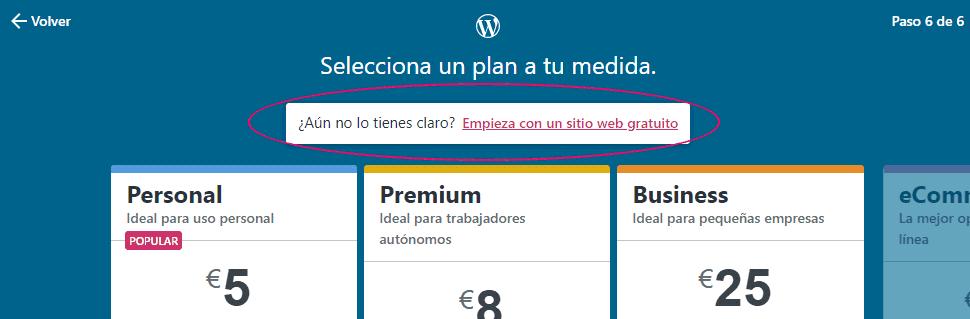 Crear un sitio web en WordPress gratis - Paso 6