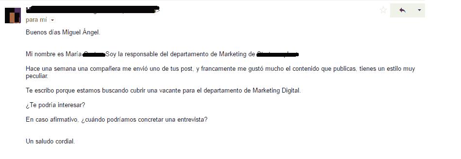 Email de respuesta para concertar una entrevista de trabajo