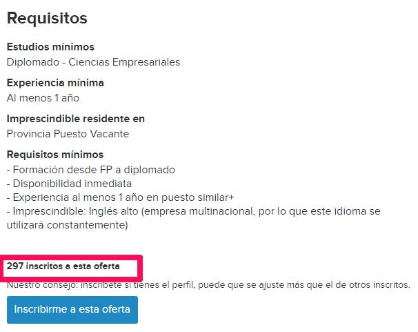 Número de inscritos en una oferta de empleo de InfoJobs