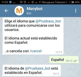Cambiando el idioma del bot creado