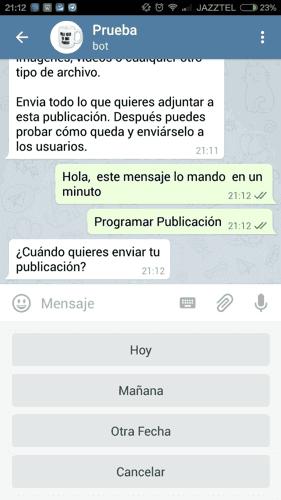 Programar una publicación en Telegram