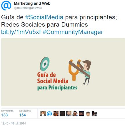 Tweet de la Guía de Social Media