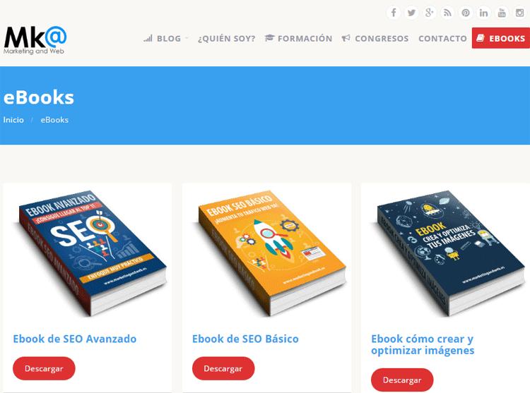Zona de ebooks en Marketing and Web