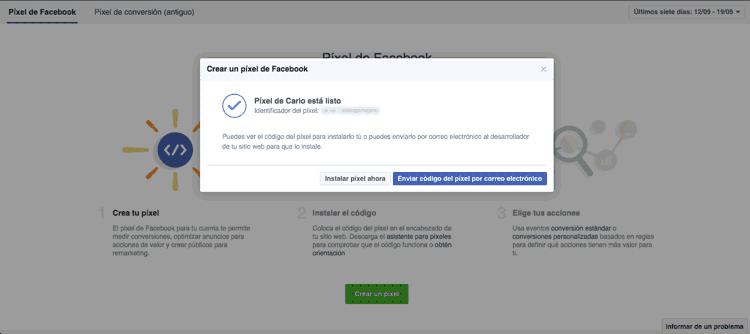 Copiar código del píxel de Facebook Ads