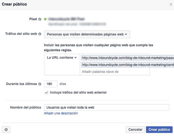 Crear público del tráfico de 2 posts en Facebook Ads