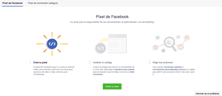 Crear un píxel en Facebook Ads