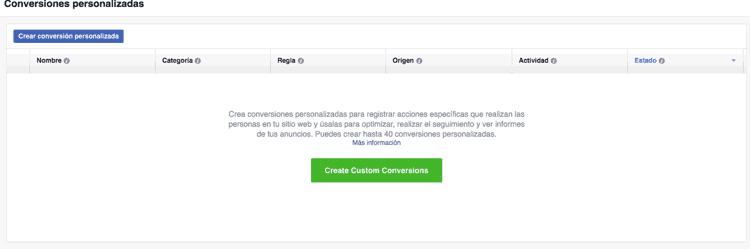 Crear una conversión personalizada en Facebook Ads
