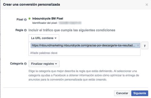 Definir qué es una conversión personalizada en Facebook Ads