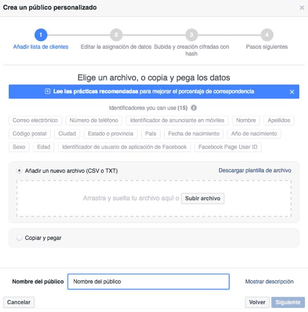Elegir un archivo de clientes para Facebook Ads