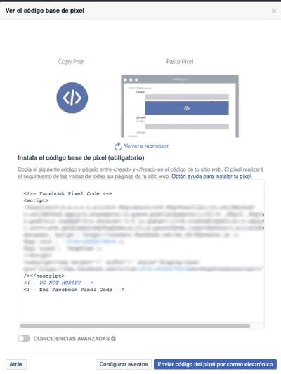 Instalar código del píxel de Facebook Ads