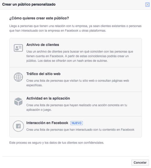 Menú 'Archivo de clientes' de Facebook Ads