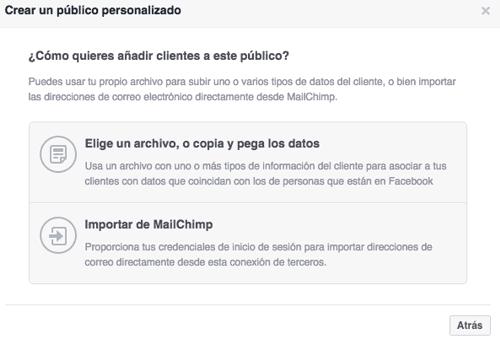 Menú 'Elegir un archivo de clientes' de Facebook Ads
