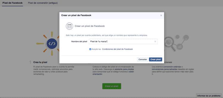 Poner nombre al píxel de Facebook Ads