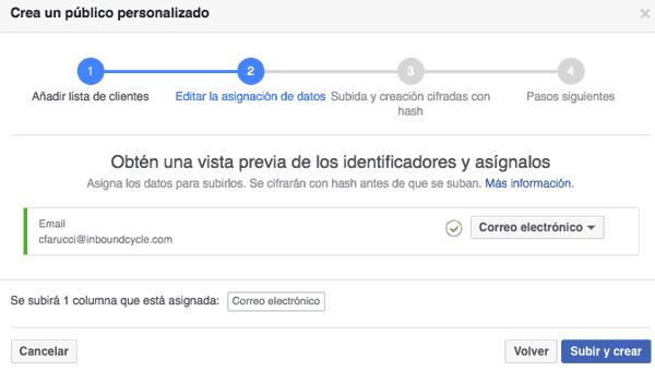 Validación del archivo de clientes para Facebook Ads