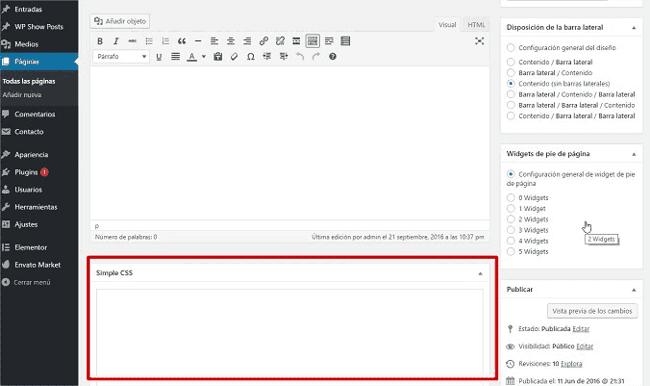Añadir CSS a una página o post específico