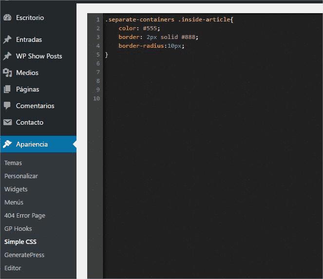 Código en Simple CSS