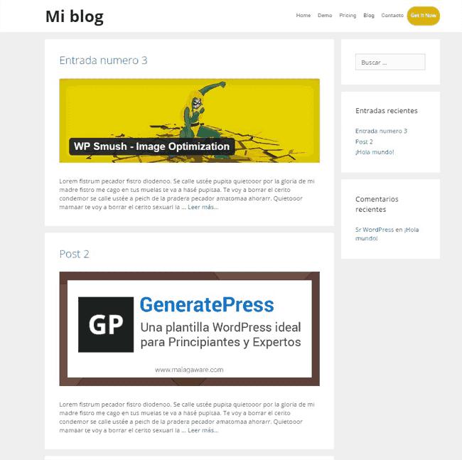 Ejemplo de personalización del estilo de un blog