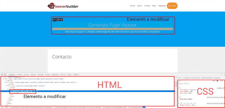 Inspector de elementos de Google Chrome