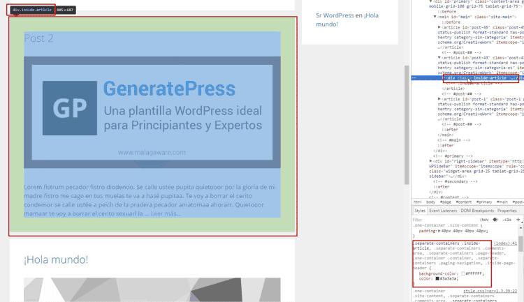 Selección de la etiqueta HTML con el Inspector de elementos