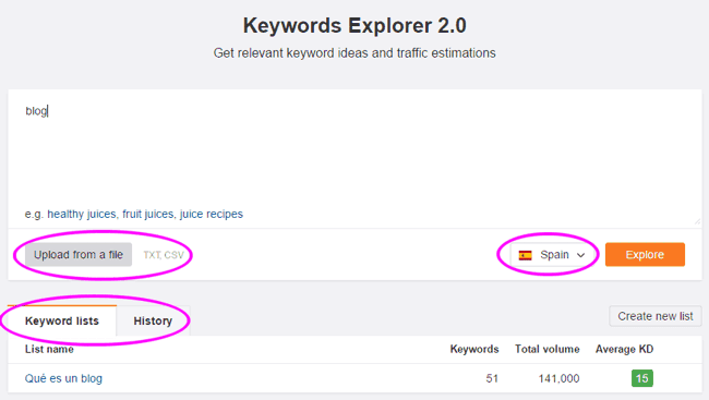 Buscador de Keywords Explorer de Ahrefs