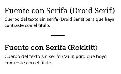 Contraste de tipografías con y sin serifa