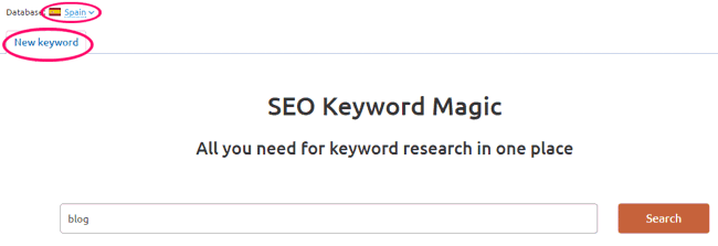 Buscador de SEO Keyword Magic de SEMrush