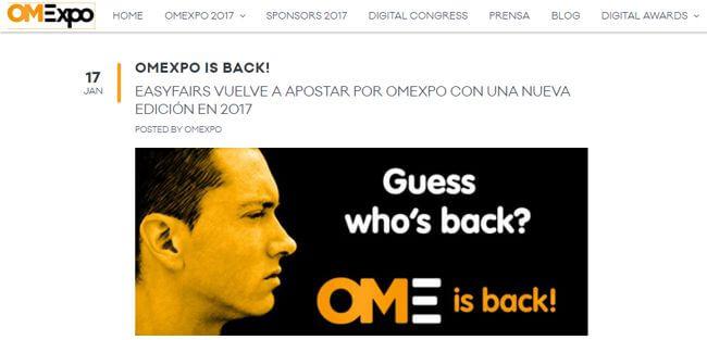 Ejemplo de blog para promocionar eventos (OMExpo)