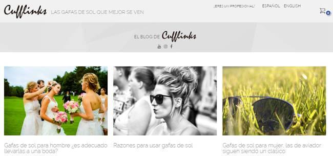 Ejemplo de blog para promocionar productos