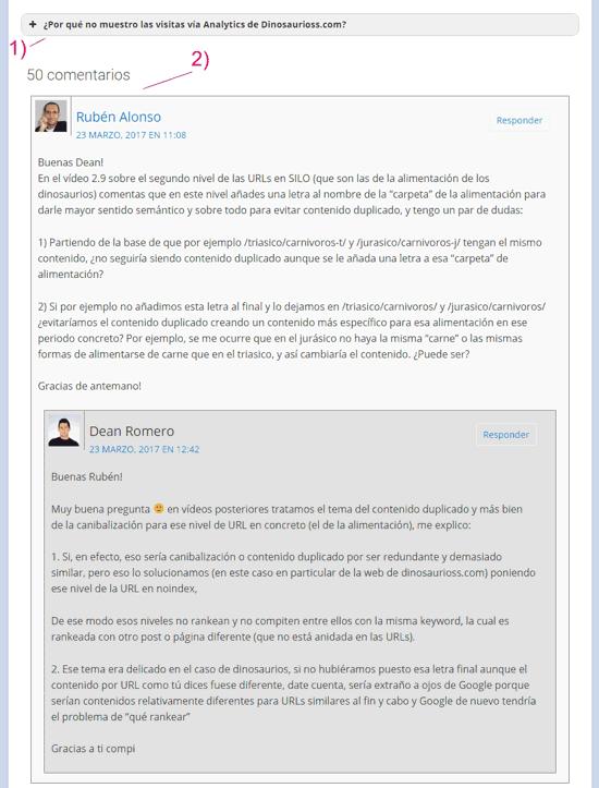 Respuestas y comentarios del soporte del curso online