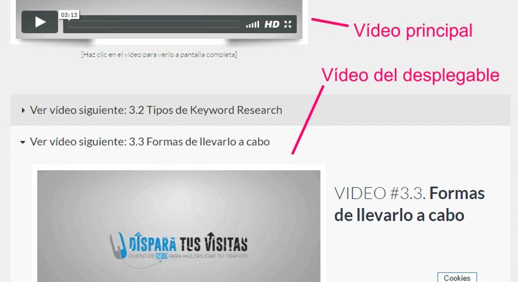 Vista de los vídeos del curso SEO online desde el PC