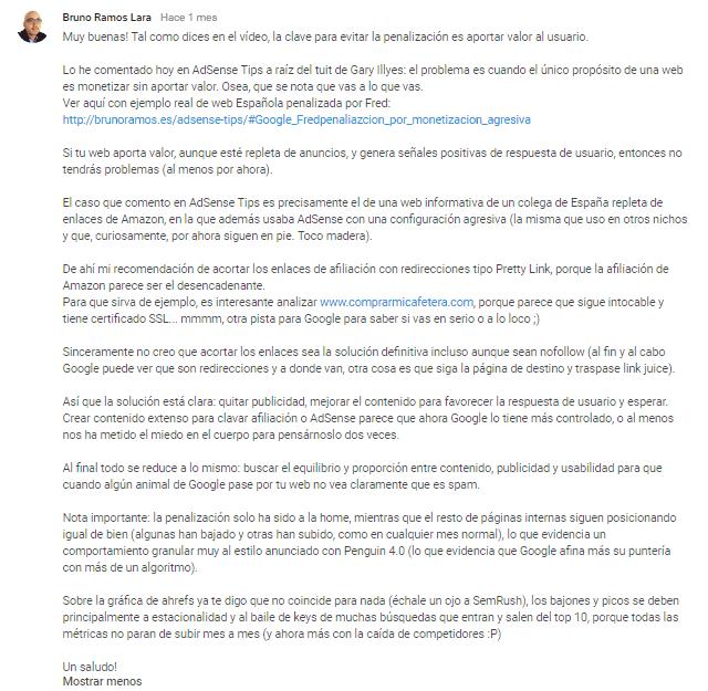 Comentario de calidad de Bruno Ramos en mi vídeo