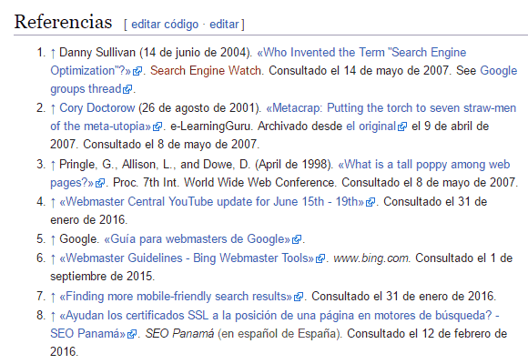 Enlaces de referencias en Wikipedia