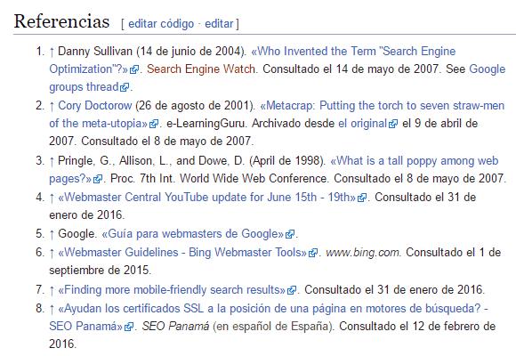 Enlaces de referencias en Wikipedia