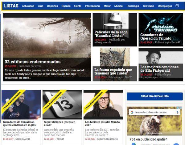 Página de inicio de listas.20minutos.es