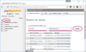 Crear una nueva base de datos con phpMyAdmin