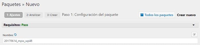 Nombre del nuevo paquete en Duplicator