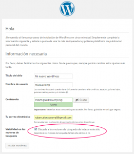 Datos para la instalación de WordPress en local
